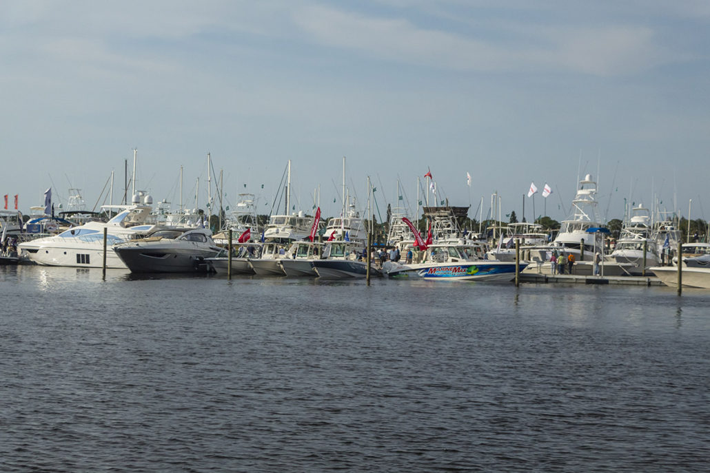 Docks from the water at The Stuart Boat Show