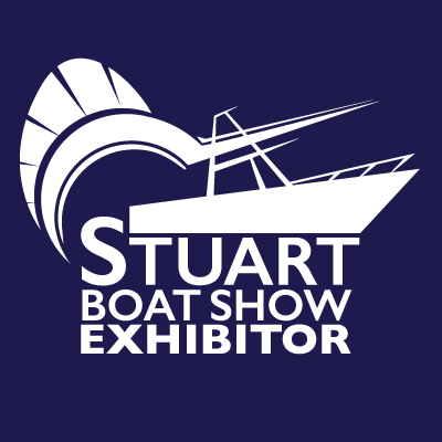 Stuart Boat Show Exhibitor Logo All White with Navy Background - Marketing Materials