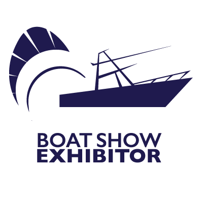 Stuart Boat Show Exhibitor Logo Navy and White with Transparent Background - Marketing Materials