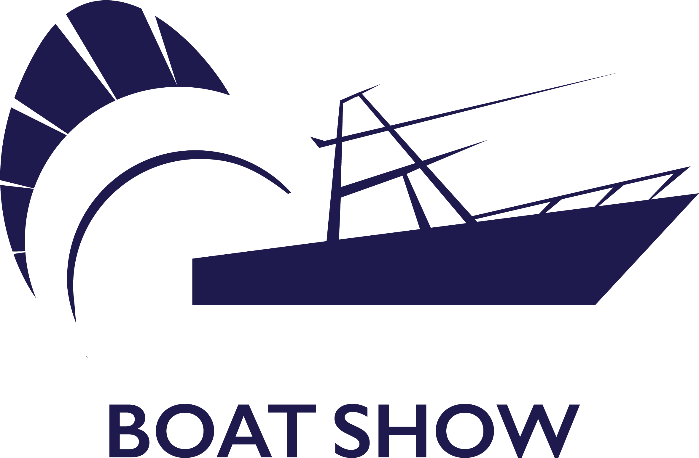 Stuart Boat Show Logo 2018 in Navy and White with a Transparent Background