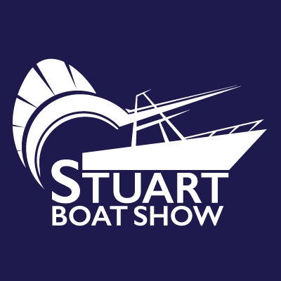 Stuart Boat Show Logo All White with Navy Background - Marketing Materials