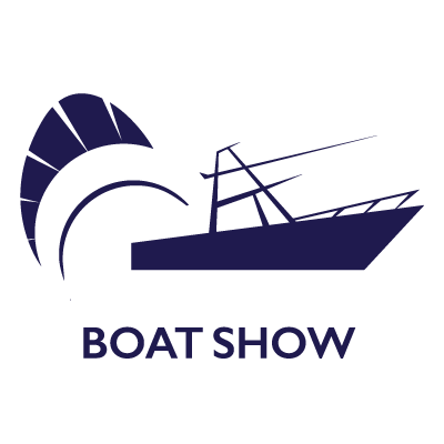 Stuart Boat Show Logo Navy and White with Transparent Background - Marketing Materials